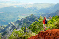 Man enjoying stunning view into Waimea Canyon Stock Photo
