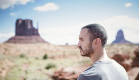 Man enjoying view of Monument Valley Stock Photo