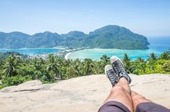 Man enjoying the view in phi phi island view point Royalty Free Stock Photo