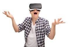 Man enjoying a virtual reality experience Royalty Free Stock Image