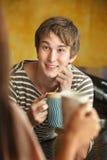 Man Enjoys Coffee or Tea Royalty Free Stock Images