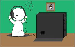 The man enjoys listening to music. The little man enjoys listening to music Royalty Free Stock Photography