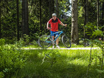 Man enjoys riding mountain bike in the forest Royalty Free Stock Photography