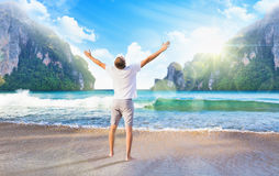 Man enjoys sea view Stock Images