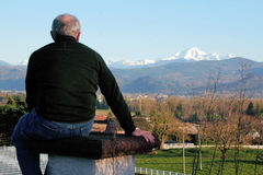 Man Enjoys View of Mount Baker Stock Image