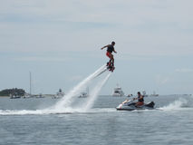 Man enjoys a water jet attachment to a jet ski in Nantucket Stock Photo