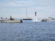 Man enjoys a water jet attachment to a jet ski in Nantucket Royalty Free Stock Photo