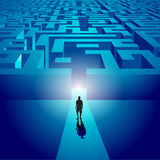 Man entering a mysterious labyrinth vector illustration