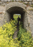 Man entering tunnel from field Royalty Free Stock Images