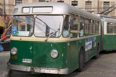 Man enters old trolleybus in Valparaiso, Chile Royalty Free Stock Image