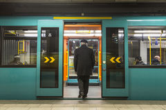 Man enters the subway at Hauptwache, Frankfurt Stock Photos