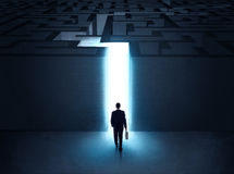 Man at the entrance to a maze Stock Photo