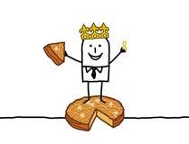 Man & Epiphany cake. Hand drawn cartoon characters - man & Epiphany cake Royalty Free Stock Photo