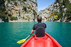 Kayaking in Verdon Canyon in springtime, Provence. France stock photos