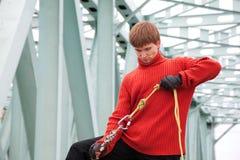 Man with equipment rope bridge Royalty Free Stock Photos