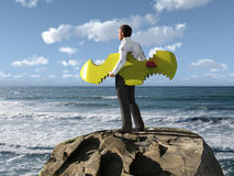 Man escaped from shark attack. Businessman escaped from shark attacks stock photo