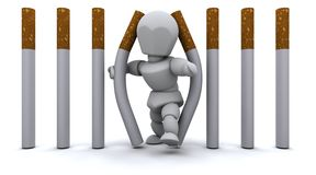 Man escaping Cigarette Prison. 3D render of a Man escaping Cigarette Prison Stock Image