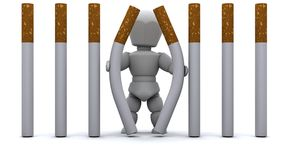 Man escaping Cigarette Prison Stock Photo