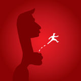 Man escaping from danger jumping away Royalty Free Stock Images