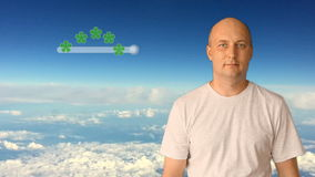 A man estimates the 5 stars service. Against the background of the blue sky and clouds. Conceptual clip by rating stock footage