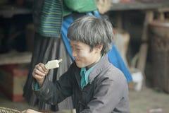 Man of ethnic minorities are eating ice cream, at old Van market Stock Photography