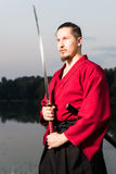 Man in ethnic samurai japanese clothing uniform Stock Photography