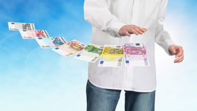 Man and euro banknotes Royalty Free Stock Image
