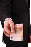 Man with euro banknotes Royalty Free Stock Images