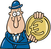 Man with euro coin. Cartoon  illustration of man with euro coin Stock Photography