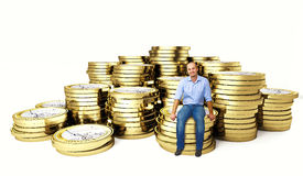 Man on euro coin 3d Royalty Free Stock Photography