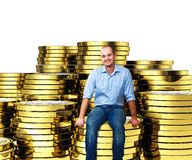 Man on euro coin 3d Stock Images