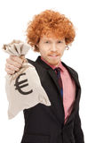 Man with euro signed bag Royalty Free Stock Image