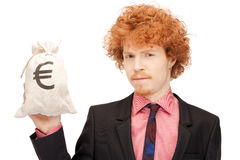 Man with euro signed bag Stock Image