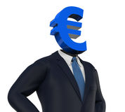Man with Euro Symbol Head. Isolated on white background. 3D render Royalty Free Stock Images