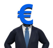 Man with Euro Symbol Head. Isolated on white background. 3D render Royalty Free Stock Photography