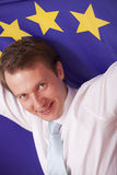 Man with european union flag Royalty Free Stock Image