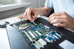 Man examines laptop PC clean thermal paste. Computer literacy repair men hands, man examines laptop clean thermal paste Stock Photos
