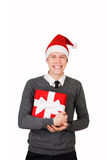 Man excited happy smile hold christmas gift box in Stock Photos