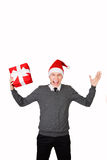Man excited happy smile hold gift box in hand. Stock Photos