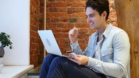 Man Excited for Successful Online Shopping, Transaction of Money. 4k , high quality stock video