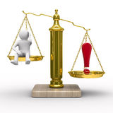 Man and exclamation point on scales. Isolated 3D image Stock Photography