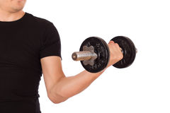 Man exercise with a dumbbell Stock Images