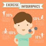 Man exercise infographics run, weight training, bike and yoga Stock Photo