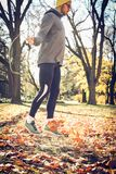 Man exercise in nature,, using jump rope. Royalty Free Stock Photo