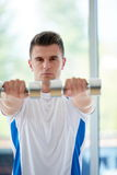 Man exercise with weights Royalty Free Stock Photo