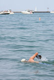 Man Exercises By Swimming Lake Michigan Stock Photography