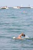 Man Exercises By Swimming Lake Michigan Stock Photography