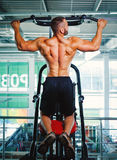 Man exercising on an arm press on a gym background. Professional gym equipment. Training, workout, bodybuilding concept. Stock Photos