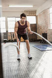 Man exercising with battling rope Royalty Free Stock Photos