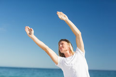 Man exercising on beach Royalty Free Stock Photo